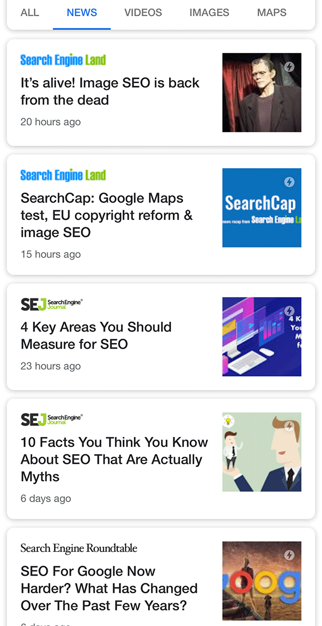 Новости в мобильном поиске Google получили новый интерфейс