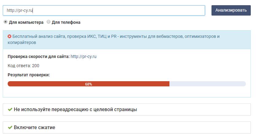 Результаты проверки скорости загрузки сайта