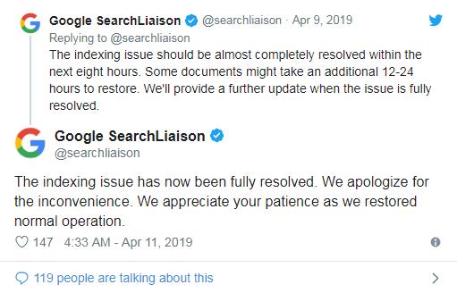 Google: проблема с деиндексированными страницами полностью решена
