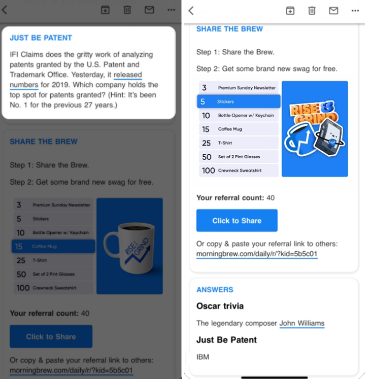 Элемент викторины в email рассылке