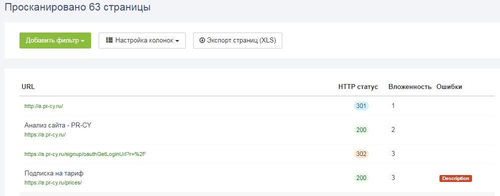 Проверка внутренних страниц инструментом