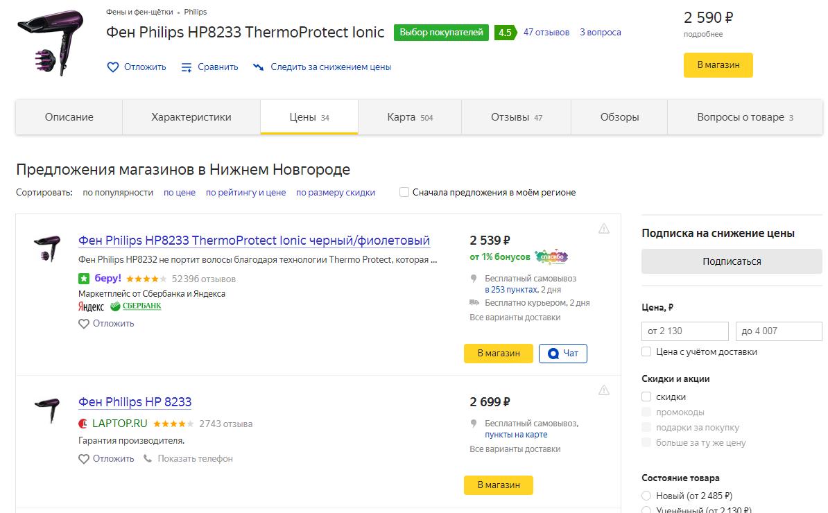 Товары в Яндекс.Маркете