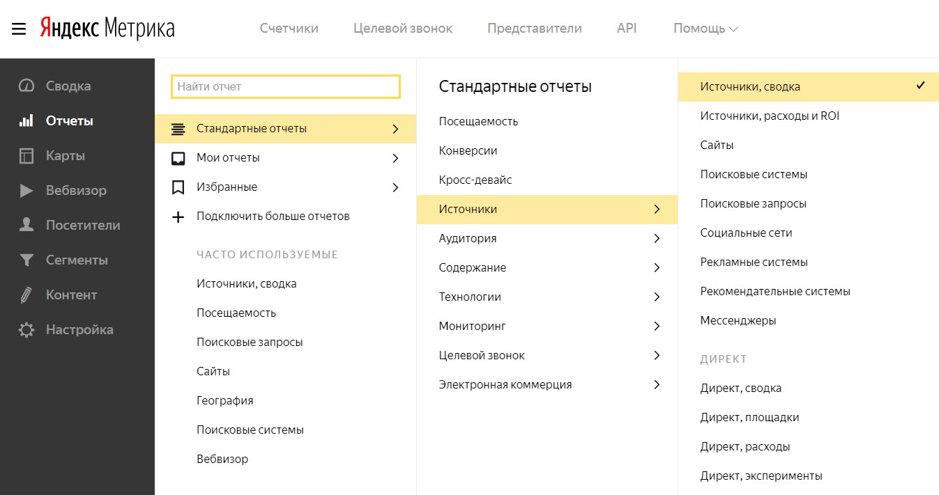 Интерфейс Яндекс.метрики