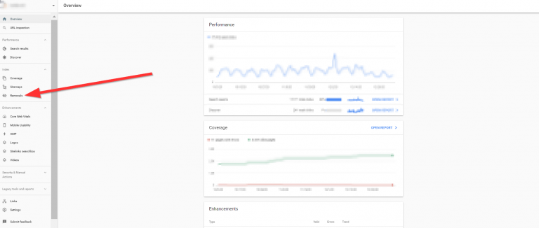 Удаление URL в консоли Google