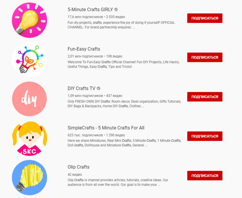 YouTube-каналы hand-made