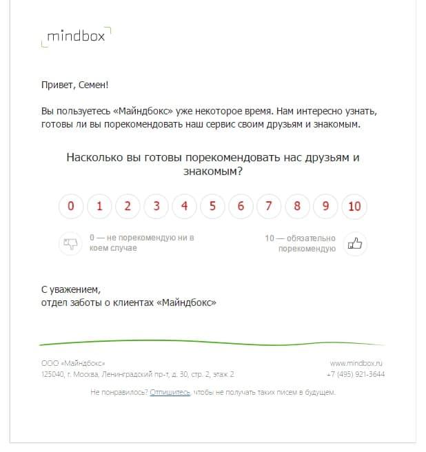 Сбор мнений пользователей через email