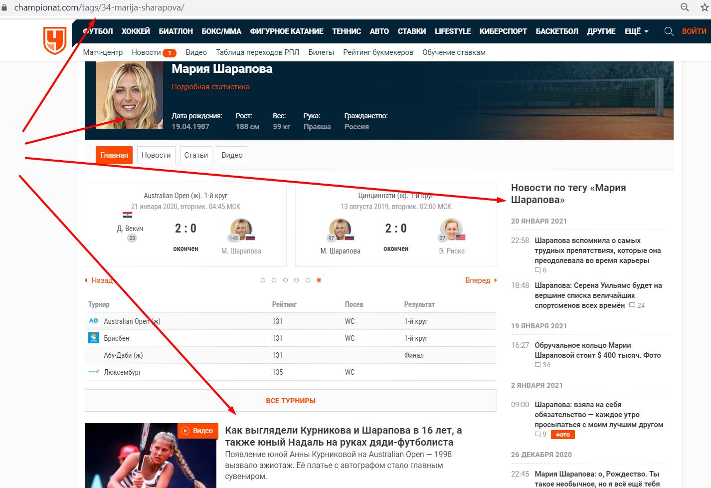 Пример тегирования на сайте новостей