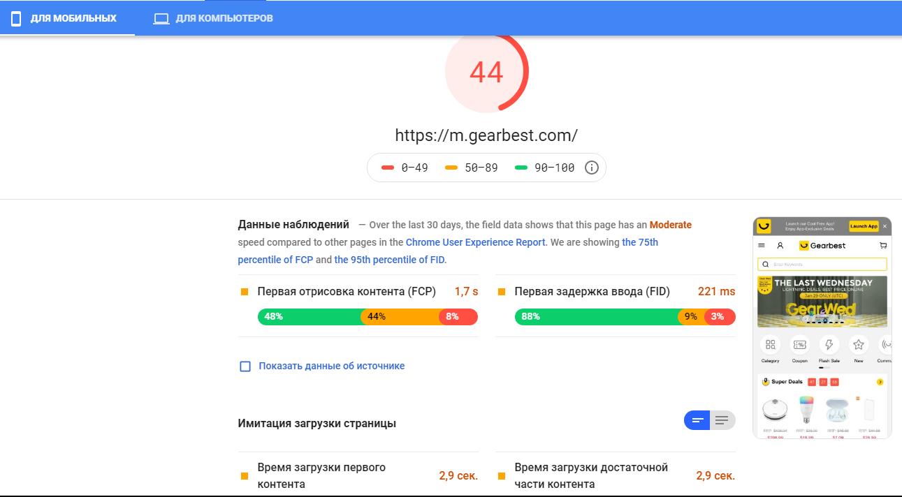 Проверить скорость загрузки Google PageSpeed Insights