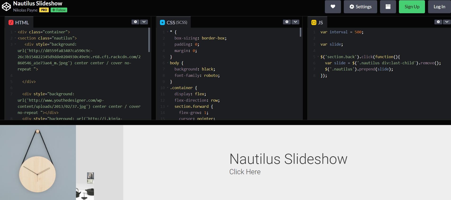 CSS, JavaScript, HTML для оформления слайд-шоу