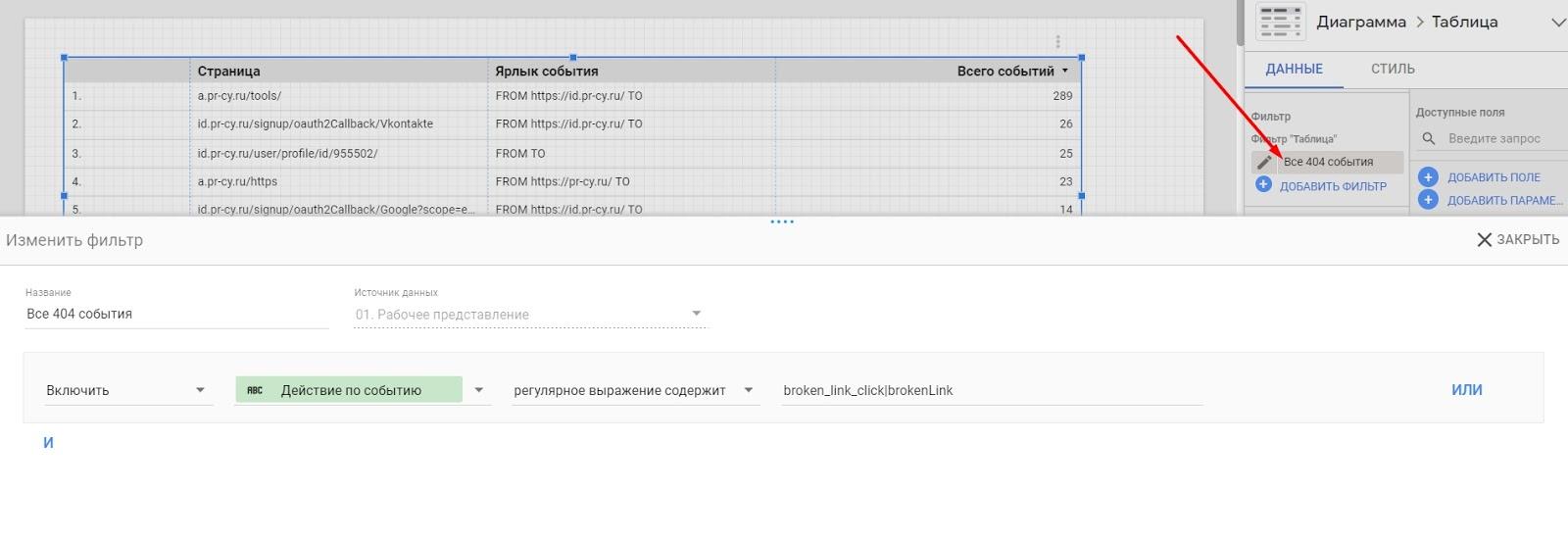 Настройка отчета в Google Data Studio