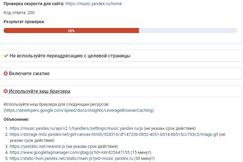 Анализ сайта инструментом проверки скорости