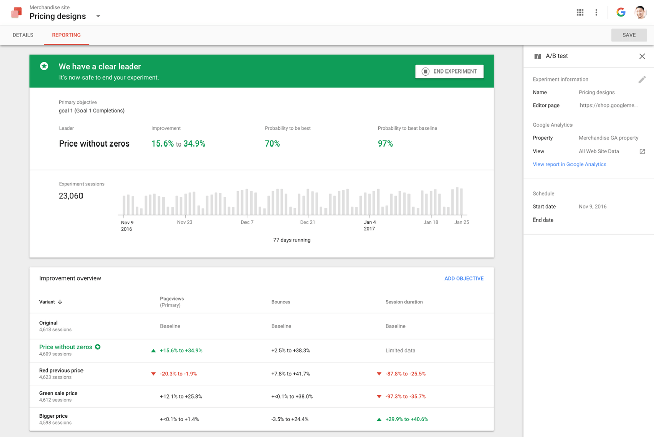 Интерфейс Google Optimize