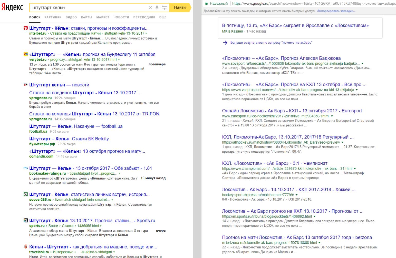 Различия в быстровыдаче Яндекса и Google