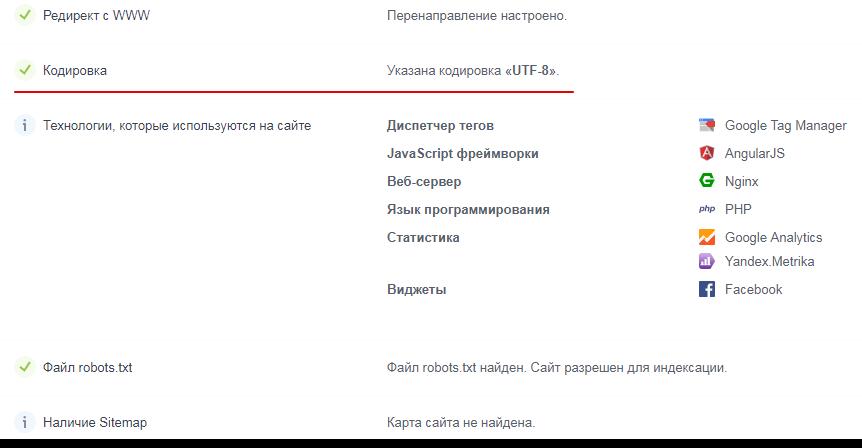 Как определить кодировку на сайте