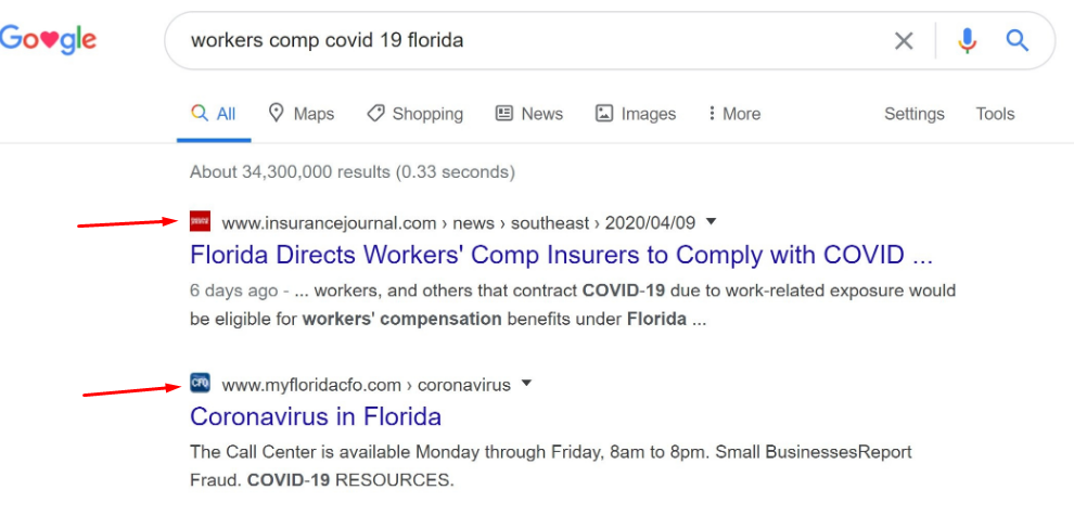 Google отображает фавиконки