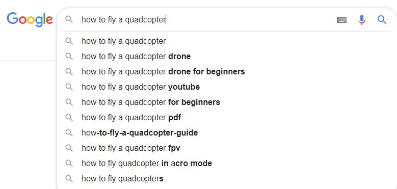 Подсказки в строке поиска Google