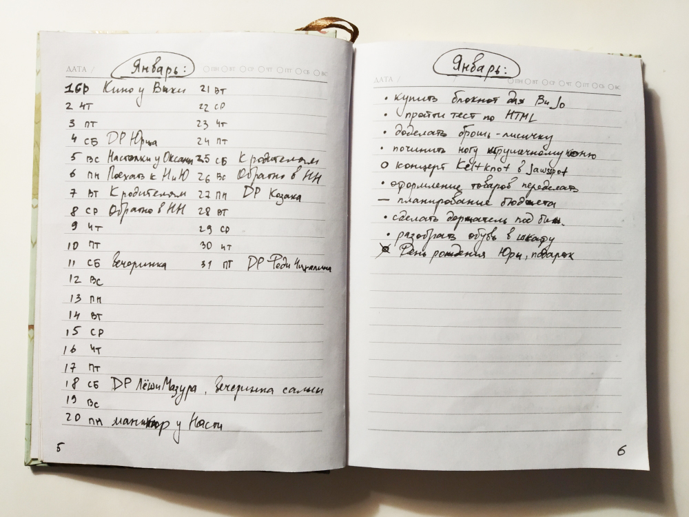 Как вести план на месяц в Bullet journal