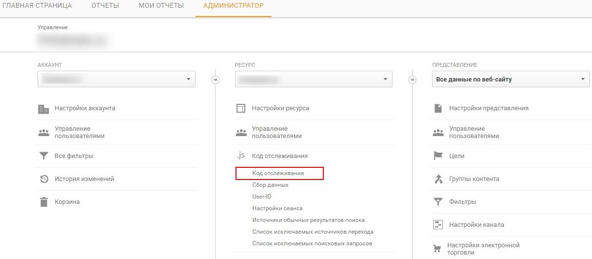 Код отслеживания в Google Analytics