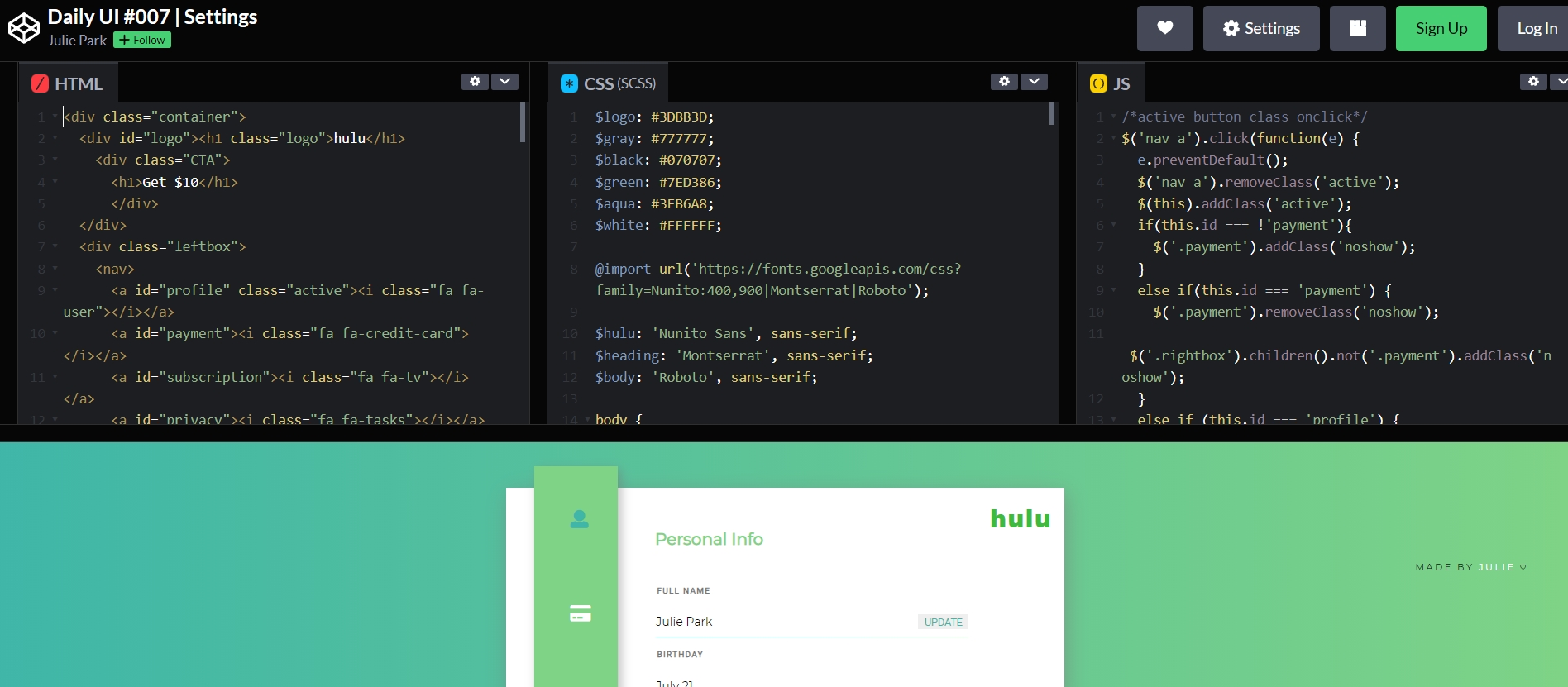 код CSS для меню