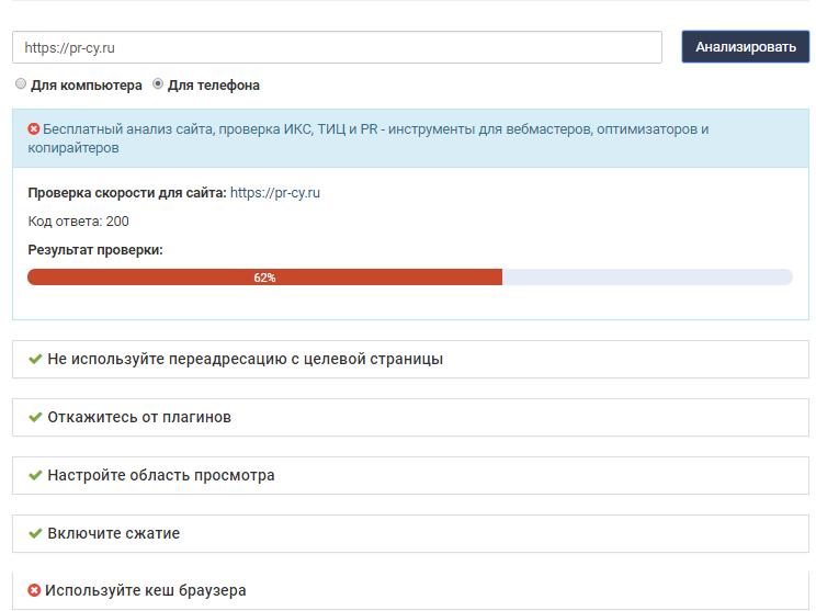 Результаты проверки скорости загрузки сайтов