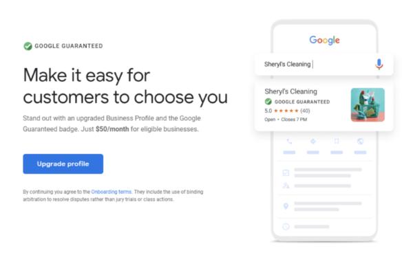 Значок Google Guaranteed для аккаунта в Google My Business