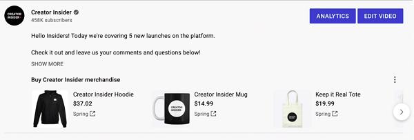 На YouTube появился раздел для продажи мерча1