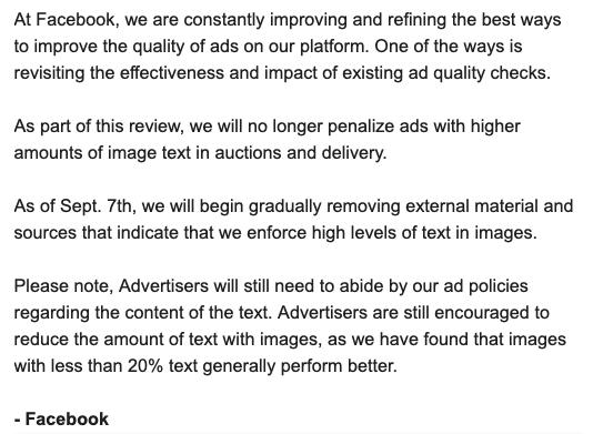 Facebook отменил ограничение на количество рекламного текста в постах