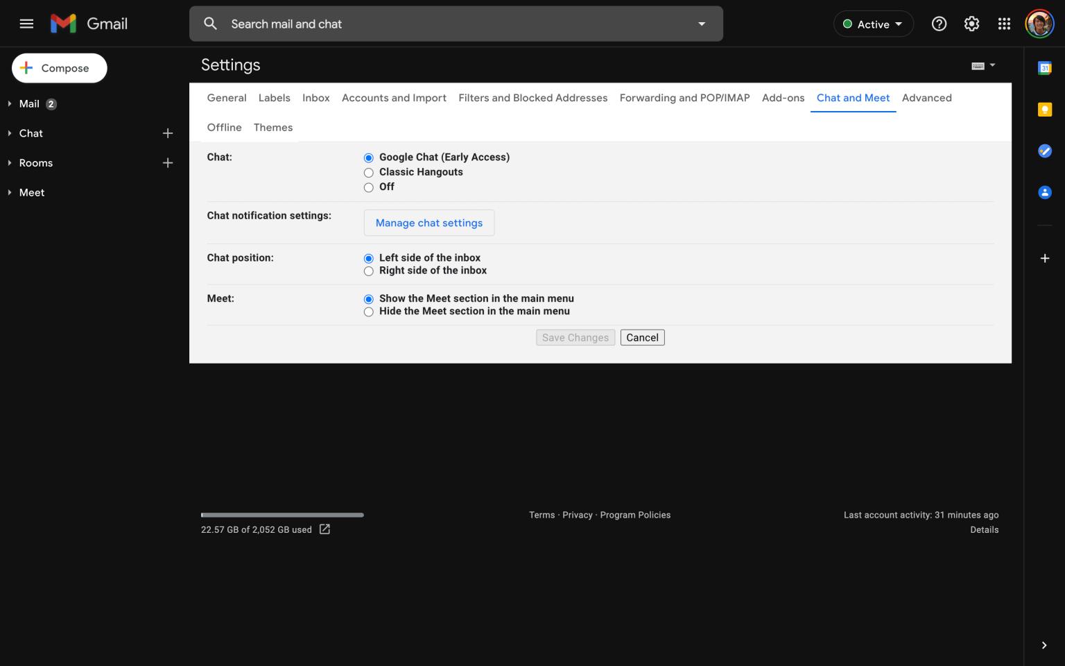 В приложении Gmail появился чат