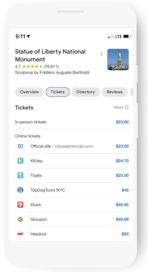 В Google Ads появился новый формат объявлений — Things to do1