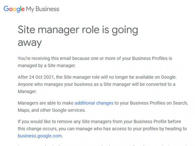 Google My Business упразднил роль менеджера адреса1