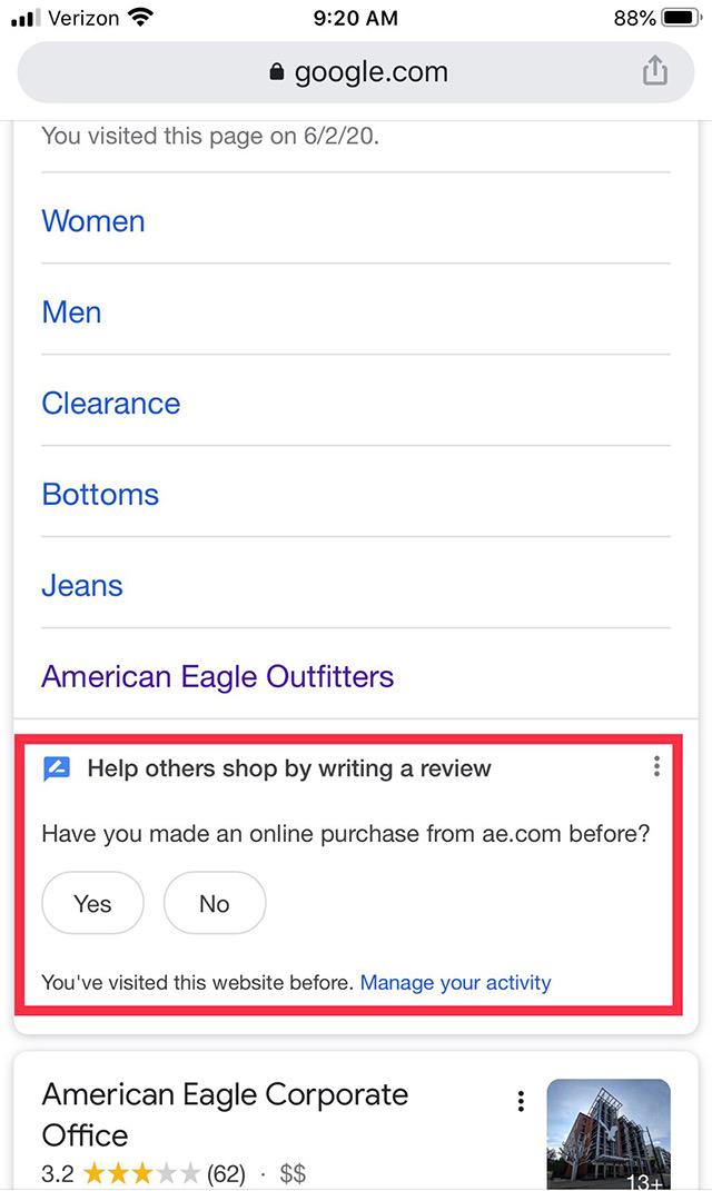 Google предлагает пользователям поиска оставить отзыв о своих покупках в интернете