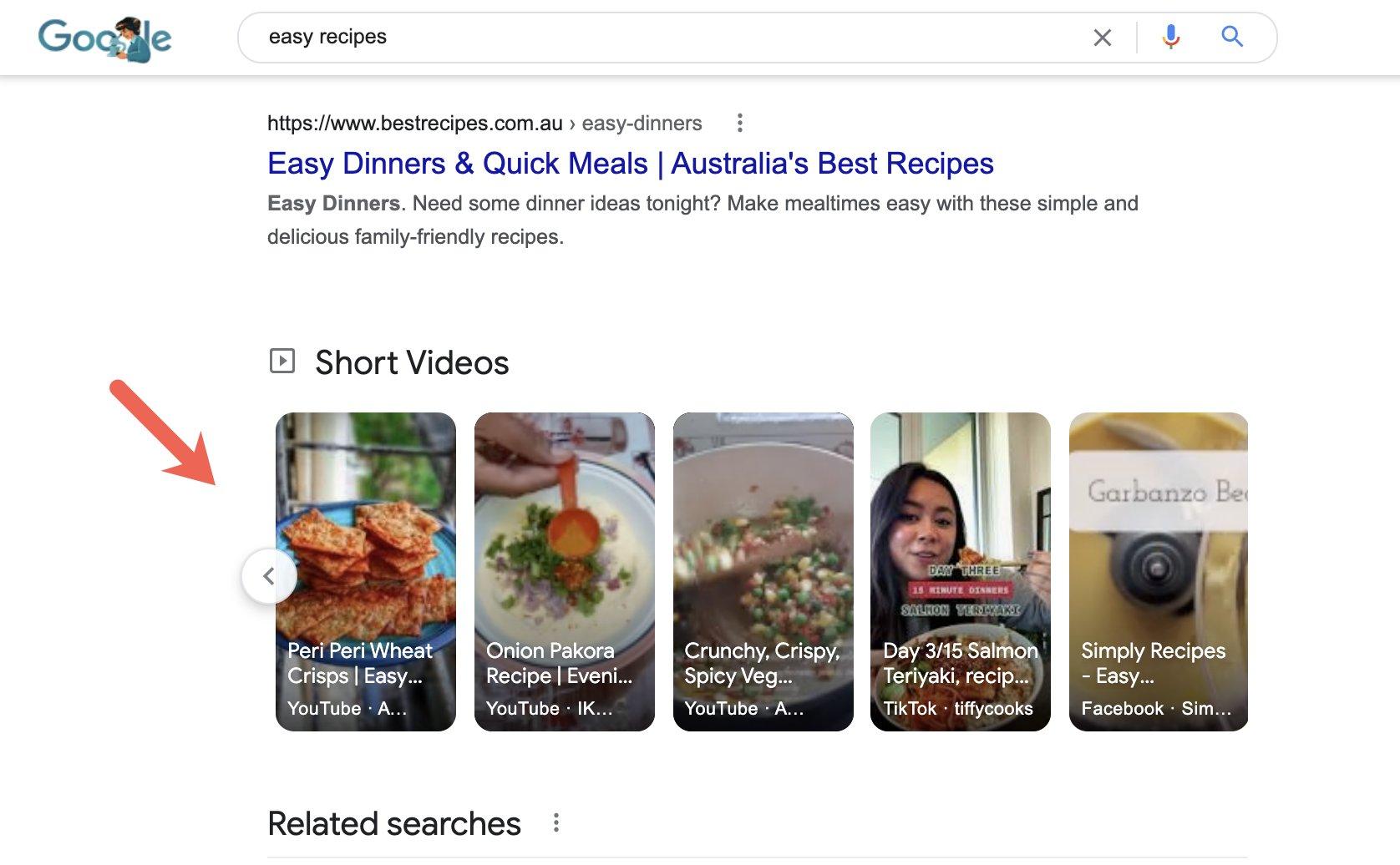 Google тестирует карусель коротких видео в выдаче1