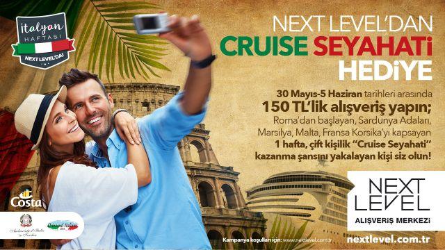 Next Level'dan Cruise Seyahati Hediye