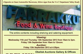 Catering Auction at 'Farrakku' Food & Wine Boutique/Confectionery Birkirkara