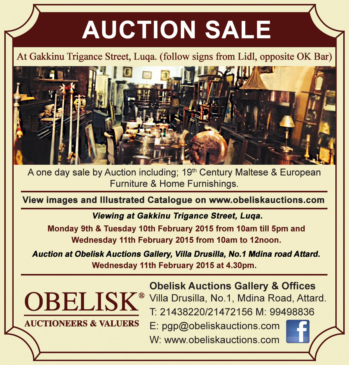 Antiques Home Furnishings Auction Obelisk Auctioneers Valuers
