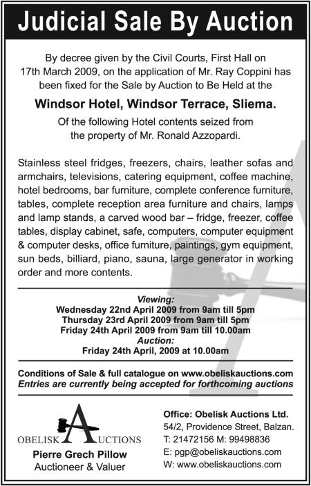 Judicial Sale by Auction | Obelisk Auctioneers & Valuers