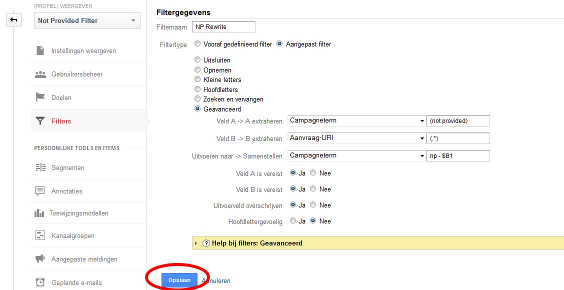 ingesteld filter - 100% not provided in Google Analytics - Hoe krijg je meer inzicht?