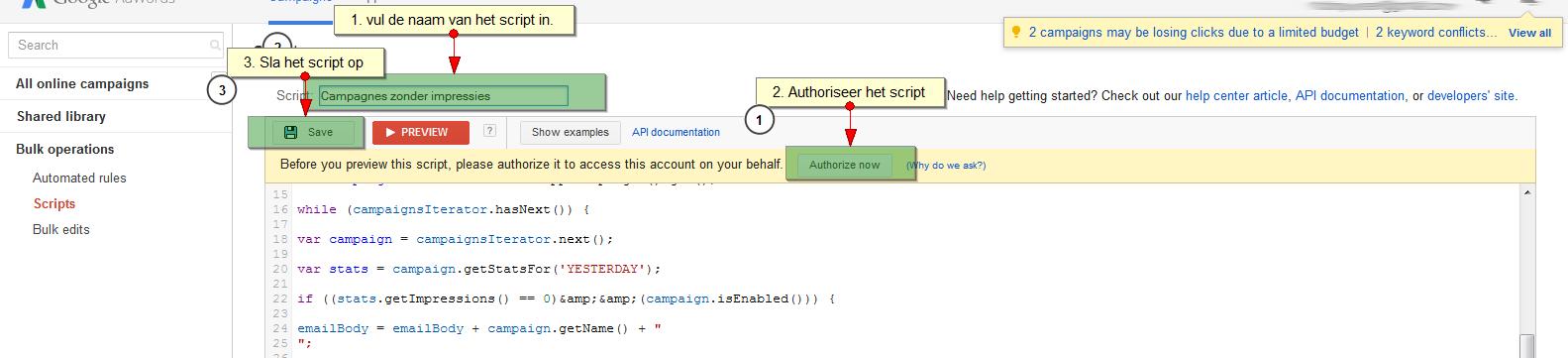 stap 3 adwords script invullen - Adwords script email met campagnes zonder impressies