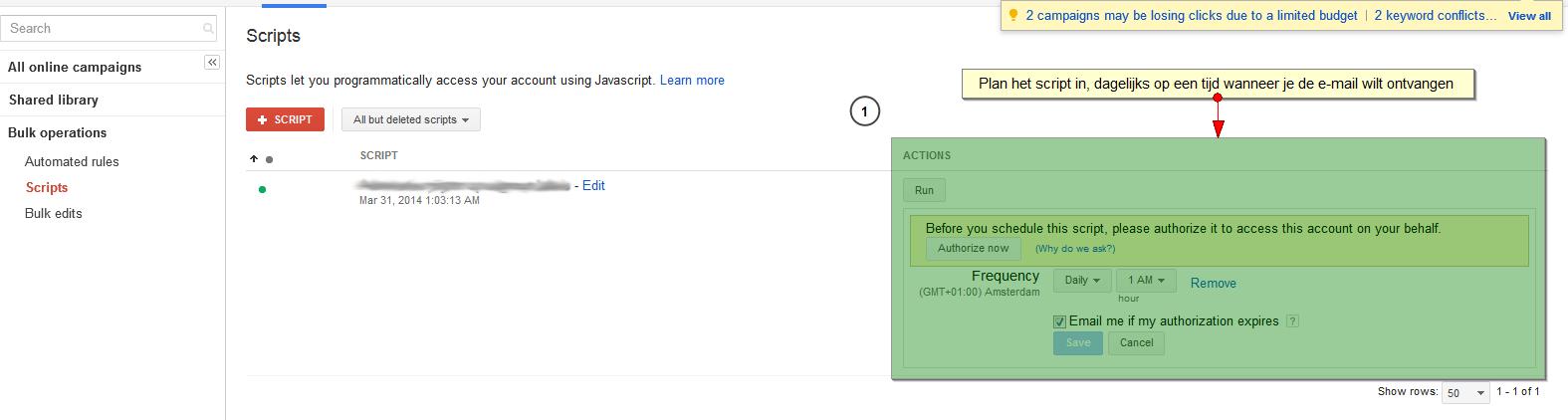stap 4 adwords script inplannen - Adwords script email met campagnes zonder impressies