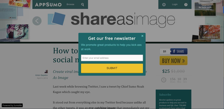 sumome integration - Verhoog het aantal inschrijvers voor je nieuwsbrief met SumoMe