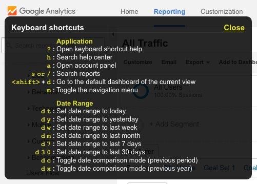 ga keyboard shortcuts - Toetsenbord shortcuts in Google Analytics