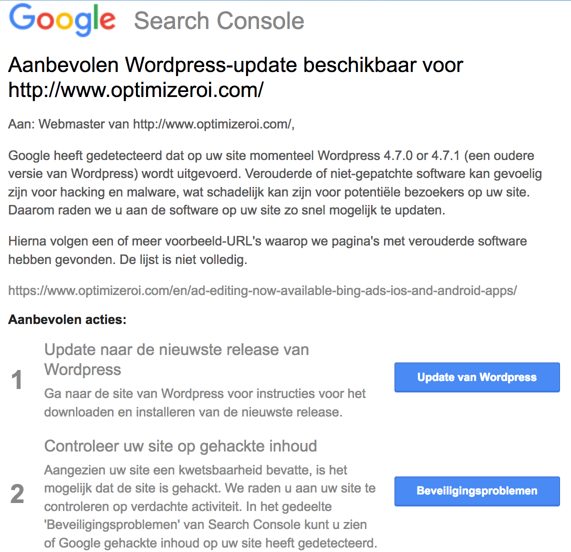 google search console worpress update - Google Search Console melding als Wordpress niet up to date is