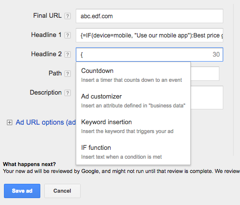 adwords if statements - Google AdWords introduceert IF Statements voor Ad Customizers