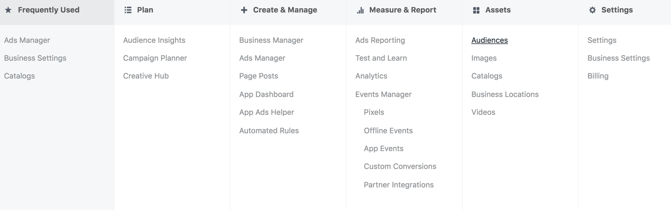 business manager dropdown - Facebook voegt Life Time Value toe aan customer match