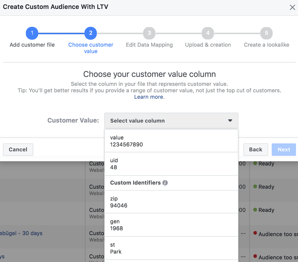 facebook audience customer match select value - Facebook voegt Life Time Value toe aan customer match
