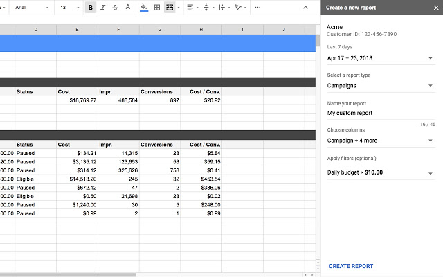 adwords google sheets3 - AdWords introduces App Connector for Google Sheets