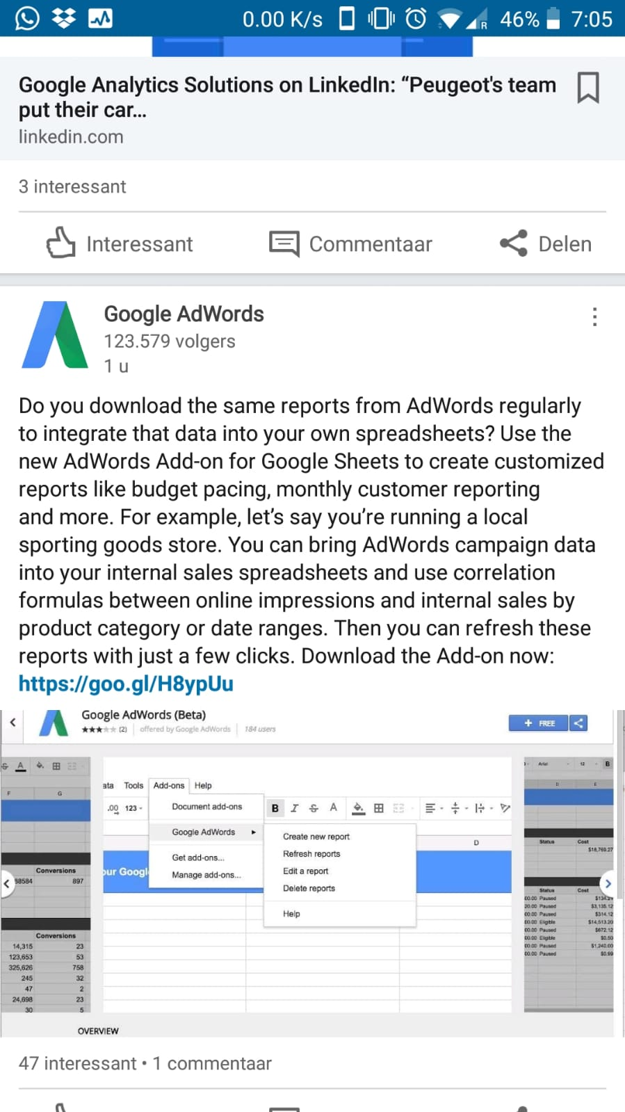 linkedin adwords googlesheets - AdWords introduceert App Connector voor Google Sheets