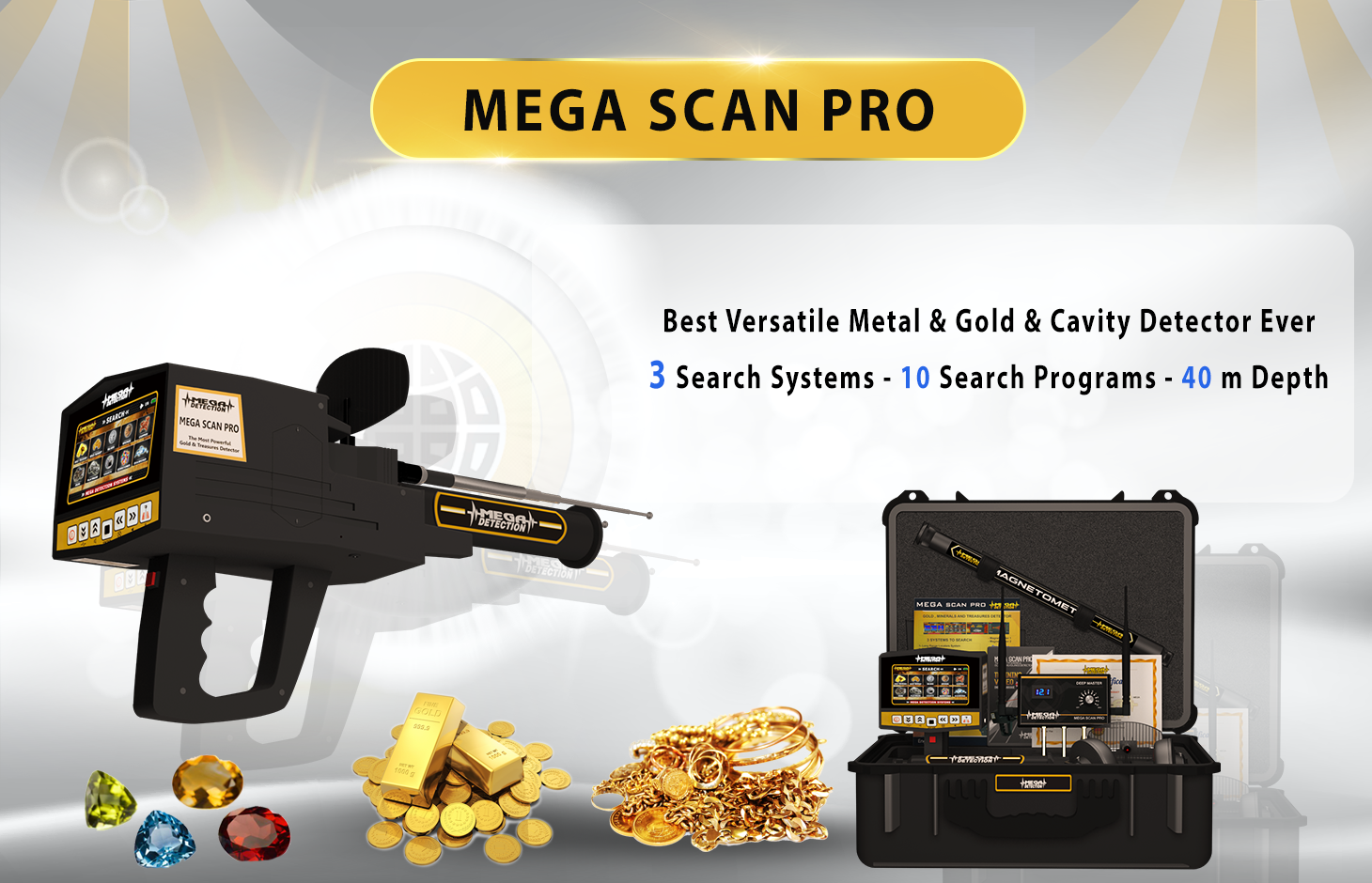 Best Professional Metal Detector 2020 Mega Scan Pro 2019 | Long Rang Locators Systems | Gold Detectors