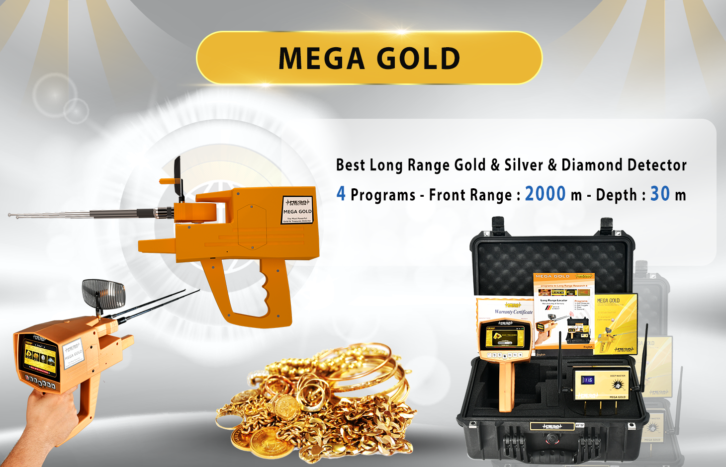 Mega Gold Detector Long Rang Locators Systems Detectors Professional Metal Detecting Range Detector1