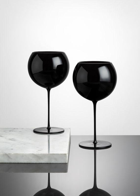 Artwork Sklenice na víno Bubbles / černá / 2 kusy other picture